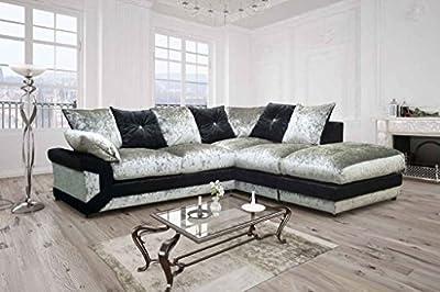 Vargas Crushed Velvet Fabric Sofa by furniturestop.co.uk