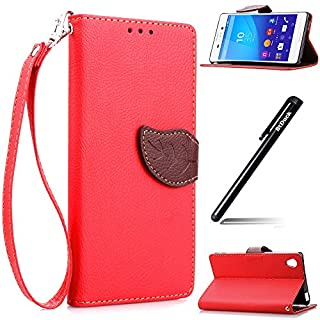 Sony Xperia M4 Aqua Brieftasche Leder Hülle Rot,Sony Xperia M4 Aqua Tasche,BtDuck Elegant Blume Prägung PU Leder Stand Handy Tasche Bookstyle Wallet Flip Cover Etui Soft Silikon Backcover Komplett Schutz Schutzhülle mit Lanyard Strap Ultra Slim Einfach Retro Design Briefcase Handytasche Lederhülle mit Standfunktion Kredit Kartenfächer Blatt Muster Magnetverschluss Handy Folio Case Cover Tasche Shell für for Sony Xperia M4 Aqua + 1x Schwarz Stift Stylus Pen