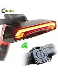 Walio Meilan X5Smart Bike Tail Light LED rouge Lumière arrière réflecteur intelligent rechargeable pour vélo avec signal clignotant côté droit et gauche modes sûr Zone Laser position visible 85lumens route ville BMX MTB mountain bike hybride