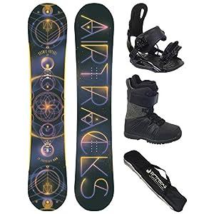Airtracks Snowboard Komplett Set – Cosmic Voyage Snowboard Rocker Wide + Snowboardbindung Star + Snowboardboots + Sb Bag / 152 156 160 164 cm
