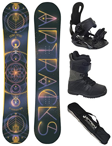 AIRTRACKS Snowboard Set / Board Cosmic Voyage Wide Hybrid Rocker 152 + Snowboard Bindung Star + Boots Star Black 42 + Sb Bag