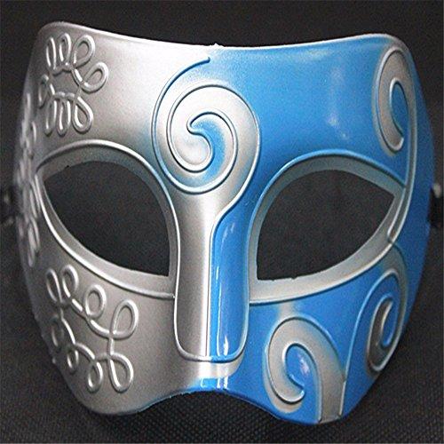 Mens Silver Masquerade griechische römische Gesichtsmaske für Fancy Dress Maskenball, Silber Blau (Die Griechische Oder Die Römische Prinzessin Kostüme)