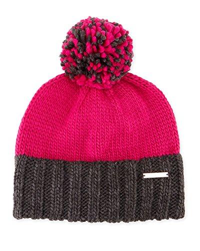 Michael Kors Colorblock Damen Pom Pom Knit Skull Hat, Fuchsia/Derby Grau
