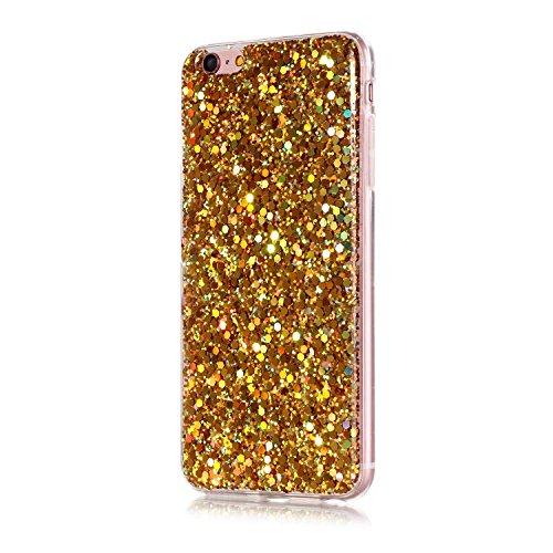 iPhone 6 Plus Coque,iPhone 6S Plus Case - Felfy Ultra Mince Scintiller Glitter Bling Shiny Paillette Coque Back Cover Silicone TPU Etui Housse Slim Cover Etui de Protection Cas en caoutchouc en Ultra  Paillette Or