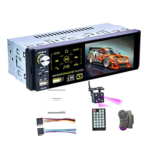 4,1 Zoll Universal Car MP5 Player Autoradio 1Din Autoradio Kapazitiver Touchscreen Stereo Bluetooth IR Rückfahrkamera USB Aux Player 7 Farbhintergrundbeleuchtung AM/FM/RDS-Radio