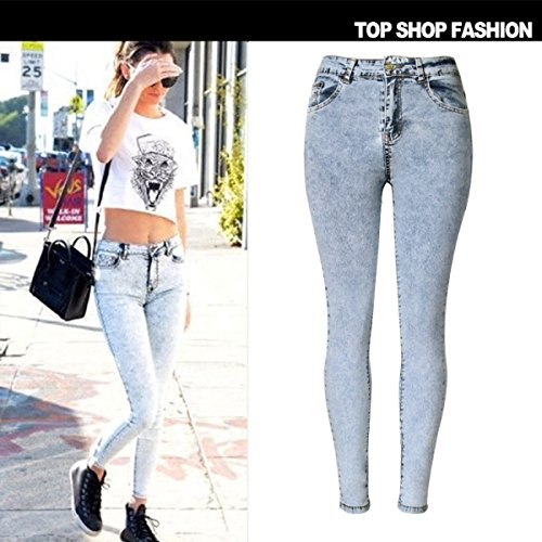 Da Donna Vestibilità Slim Pantaloni Stretch Matita Vita Alta Pantaloni Denim Jeans Taglia Più C1