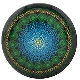 Morella Unisex Glas Click-Button Druckknopf Psychedelic Art grün blau