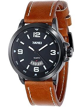 Inwet Herren Armbanduhr,Braun Leder Armband,Schwarz Zifferblatt mit Datum