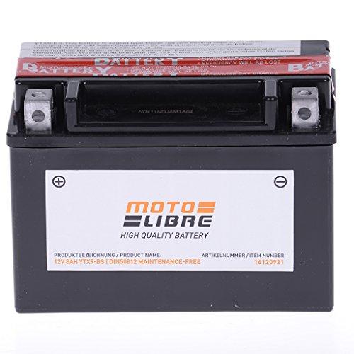 Batterie 12V 8AH YTX9-BS Wartungsfrei Motolibre 50812 Piaggio Zip 50 ZAPC25 - 4T AC DT 00-04