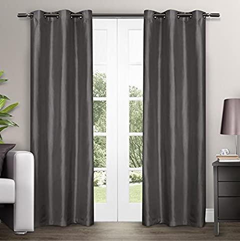 Exclusive Home Dupioni Faux Silk Grommet Top Window Curtain Panels 40 X 84, Black Pearl, Sold As Set of 2 / Pair by Exclusive Home Curtains