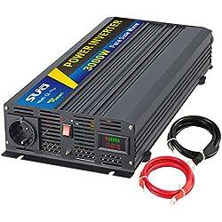 SUG Convertisseur Pur Sinus 3000w (pic 6000W) onduleur 12V à 220V 230V Onde sinusoïdale Pure Power Inverter