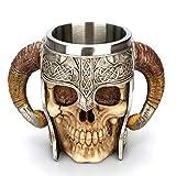Yundxi Acier Inoxydable Tête de Mort Mug à café Poignée Double Corne Bière Tasse Tête de Mort OS Armour Mug (#1)