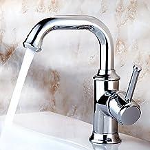 Pumpink Todos Grifo de baño de bronce Grifo de un solo agujero Caliente y fría 360 ° Rotación de cromo Lavar su cara Lavar las manos Verduras Mezclador de grifo