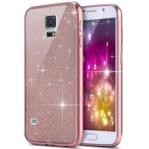 JAWSEU Kompatibel mit Galaxy S5 Hülle,Galaxy S5 Neo Hülle,Galaxy S5/S5 Neo Silikon Hülle Glitzer,Kristall Bling Glänzend Strass TPU Schutzhülle Silikon Schutz Handytasche Case Cover - Rose Gold (Maßgeschneiderte Hülle Für Galaxy S5)