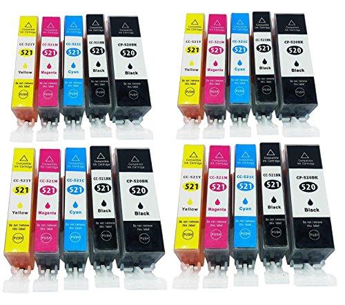Azprint 20er Set Kompatibel Canon PGI-520 PGI520 PGI 521 XL + CLI-521 CLI521 CLI 521 XL Druckerpatronen für Canon Pixma IP3600 IP4600 IP4700 MP540 MP550 MP560 MP620 MP630 MP640 MX860 MX870| 4 Schwarz, 4 Photo schwarz, 4 Blau, 4 Rot, 4 Gelb