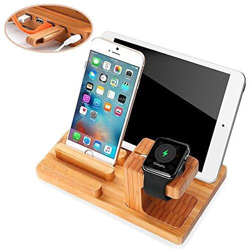 Apple Armbanduhr Ständer, Handy Ständer, ptuna Bambus Holz Laden für iPhone iPad, Smart Phone, Tablet mit 4Ports USB HUB Cell-docking-station