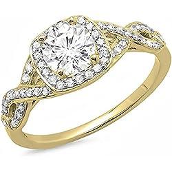 Bague Femme/ Bague De Fiançaille 14 ct Or Jaune Rond Moissanite & Blanc Diamant