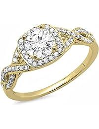 70081dadb4f38 Bague Femme  Bague De Fiançaille 14 ct Or Jaune Rond Moissanite   Blanc  Diamant