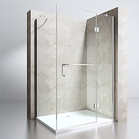 Shower Enclosure Cubicle Cabin Hinged Glass Door Left Or Right Hand Entry + Tray (900mm x 800mm Acrylic Shower Tray, Door & Side Glass Size:900mm x