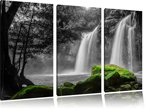 traumhafter Wasserfall im Dschungel schwarz/weiß 3-Teiler Leinwandbild 120x80 Bild auf Leinwand, XXL riesige Bilder fertig gerahmt mit Keilrahmen, Kunstdruck auf Wandbild mit Rahmen, günstiger als Gemälde oder Ölbild, kein Poster oder Plakat -