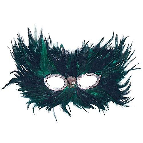 Bristol Novelty EM020 Feder Augenmaske, Grün/Schwarz, Damen, Einheitsgröße