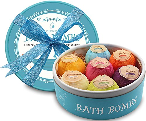 Bath-Bombs-7-Large-Organic-Fizzing-Bath-Bombs-with-Gift-Box-Great-for-Birthdays-Christmas-Gifts-for-Families-Lover-Friends-Women-Relaxation-With-added-Detox-Ability-by-PURENJOY