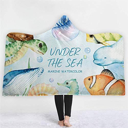 WWTZ Fisch Meer gedruckt Cartoon Mikrofaser mit Kapuze Decke für Erwachsene Kinder Sherpa Turtle Fleece tragbare Decken auf dem Schlafsofa Fleece-turtle