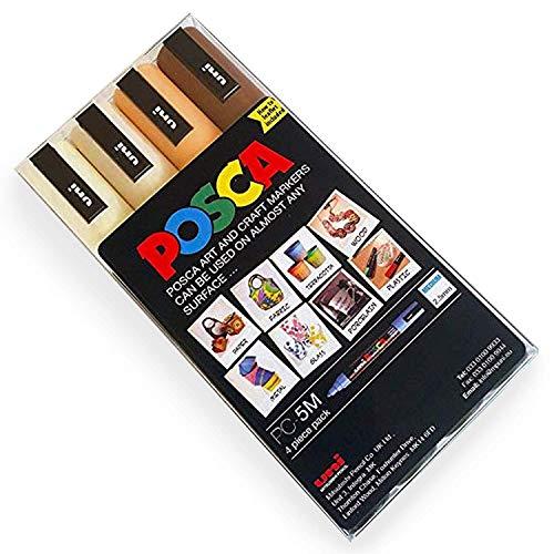 POSCA Colouring - PC-5M - 4 pezzi nelle tonalità color pelle, con custodia