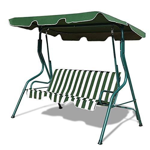 vengaconmigo Balancín de Jardín de Metal 3 Plazas Columpio de Jardín con Techo Proteccióm Solar Columpio Exterior (Verde y Blanco)