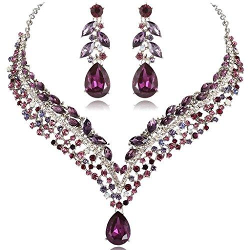 EVER FAITH® - Sentier Fleuri - Collier Plastron Boucle d'Oreilles Parures Bijoux Forme V Cristal Autrichien Parme