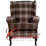 "Luxury Orthopedic High Seat Chairs in 21"" or 19"" Seat Heights. Balmoral Brown Tartan. (21"" Seat Height)"