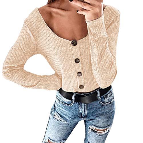 Cramberdy ❀Damen Pullover, Lange Ärmel Einfarbig Sweatshirt Strickpullover -