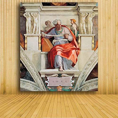 WSWWYAdams Gemälde im Freien, Leinwandbilder, Wandkunst-Poster, weltberühmte Gemälde von Michael Angel A 40x60cm No Frame