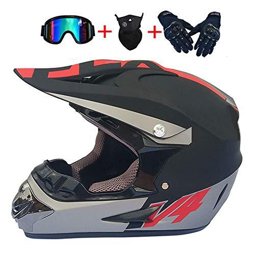TKGH Motocross Helm, TK-17 Adult Off Road Helm mit Handschuhe Maske Brille Unisex crosshelm Motorradhelm ATV Helm Sport Adventure Enduro Helmet für Männer Damen Sicherheit S, M, L, XL,XL Adventure Handschuhe
