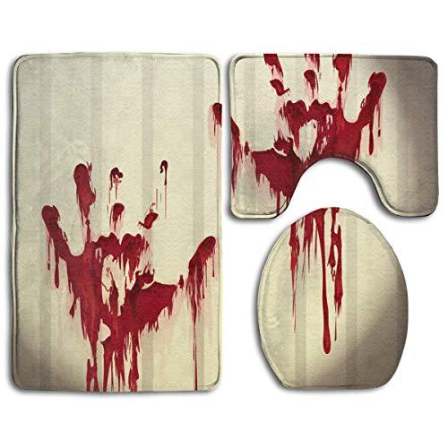 y Hand Prints On Wall Bathroom Rug Set Non-Slip 3 Piece Bathroom Rugs/Contour Mat/Toilet Cover ()
