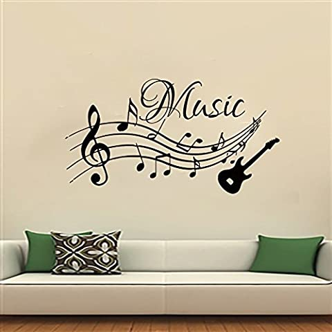 Wall Decals Music Decal Vinyl Sticker Guitar Musical Notes Pattern Decal Studio Home Decor Bedroom Room Art Murals