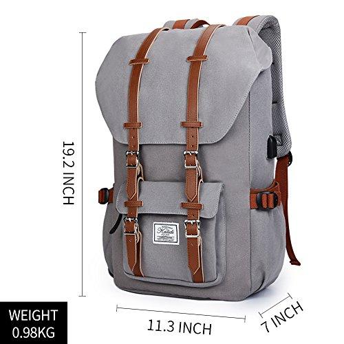 Canvas Rucksack, Casual Daypack mit USB Charge Port Backpack Schulrusack Laptoprucksack für Freitzeit Arbeit Campus Schule Reise, Grau - 7