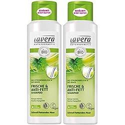 Lavera Shampoo per capelli freschi e anti grasso, mélange di limone, capelli grassi, vegani, shampoo per capelli biologico, naturale e innovativo, cosmetici naturali, confezione da 2 (2 x 250 ml)