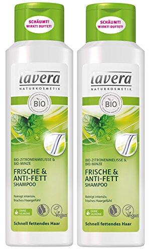 lavera Haar Shampoo Frische & Anti Fett ∙ Zitronenmelisse ∙ Fettende Haare ∙ vegan ✔ Bio Haarshampoo ✔ Natural & innovative Hair Care ✔ Naturkosmetik ∙ Haarpflege 2er Pack (2 x 250 ml) -