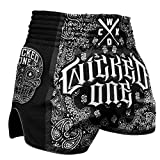 Wicked One Muay Thai Shorts O.G Nero - Thaiboxen Short Tradizionali Thaibox Pantaloni da Uomo con Tessuto Air Flow, Uomo, W19FMTSOG-B, Nero, L