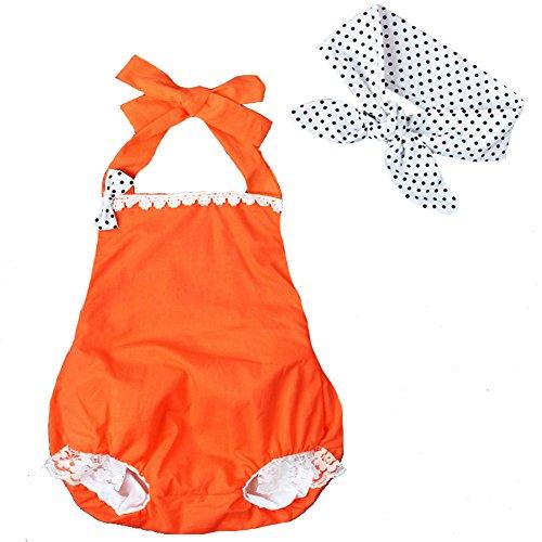aby Mädchen Kleinkind Orange Halter Spitze Rüsche Spielanzug Outfits mit Dot Stirnband (6-12 Monate) (Spitzen-outfit Für Kleinkinder)
