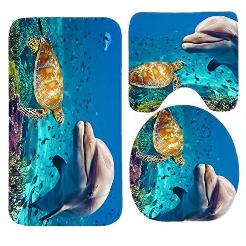 Fedso, set da bagno subacqueo con tartaruga di delfini, tappetino da bagno, tappetino antiscivolo sagomato, copriwater e tappetino da bagno