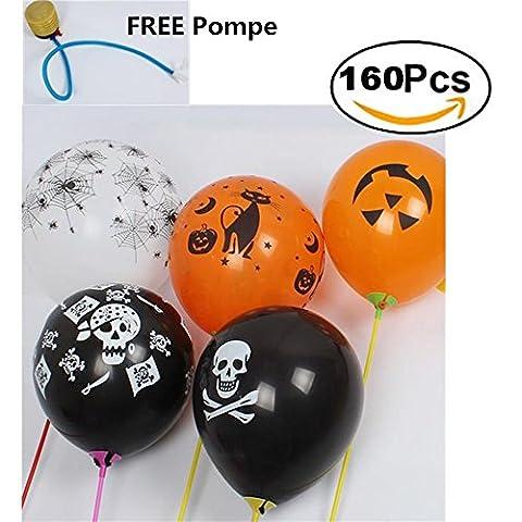 Nibesser Lot de 160 PCS Ballon de Halloween 3 Couleurs Noir Blanc Orange Accessoire pour Décor Halloween (Noir&Blanc&Orange)