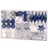 THO Weihnachtsbaumschmuck Set Blau/Silber/Weiss 87 teilig