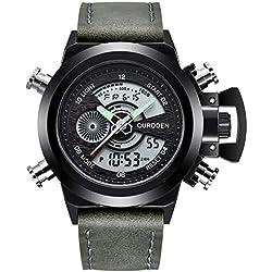 Montre de Poignet imperméable d'horloge numérique de Quartz des Montres du Sport LED en Cuir des Hommes Montre à Quartz Intelligente