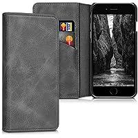 kalibri Hülle für Apple iPhone 6/6S - Wallet Case Handy Schutzhülle echtes Leder - Klapphülle Cover mit Kartenfach und Ständer Dunkelgrau