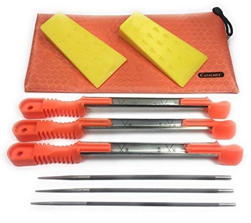 Cataumet cuneo file kit, 2 cuneo misura 14 cm , plastica, 3 motosega file un' affilatura di dimensioni 5.5mm 4.8mm 4.0mm con manico antiscivolo, 1 Field bag
