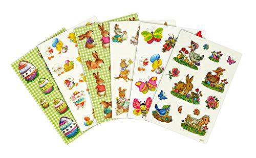 * Viele kleine Oster-Deko Aufkleber | Klassische Motive: Osterhasen, Ostereier, Blümchen, ... | 4er-Set und 6er-Set wählbar | Frühling Sticker Etikett (6er-Set)