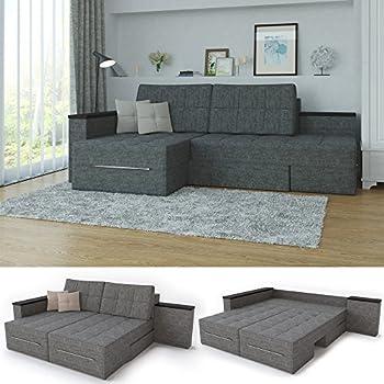 Ecksofa luxus  XXL Ecksofa mit Schlaffunktion 260 x 160 cm Grau - Eckcouch Relax ...