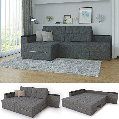 XXL Ecksofa mit Schlaffunktion 240 x 160 cm Grau – Eckcouch Relax Sofa Couch Schlafsofa Luxus Schlafcouch